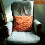recovered rocking chair with pillow