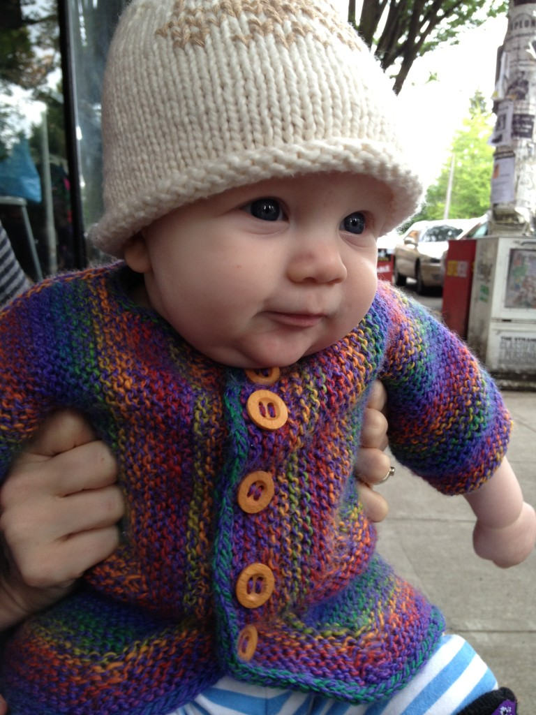 Rainbow Jacket and Snowflake Hat